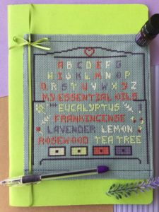 essential oils cross stitch pattern notebook