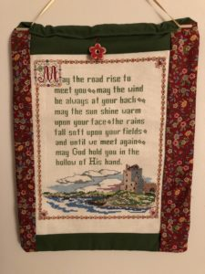 Irish blessing cross stitch wall hanging
