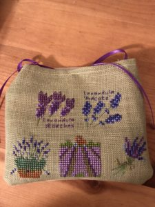 lavender sachet in cross stitch